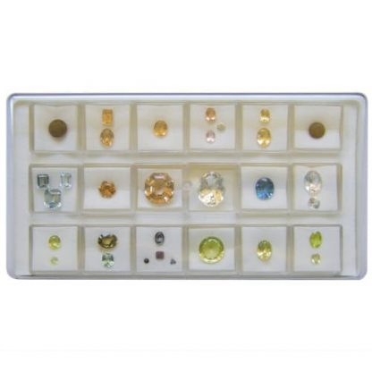 Plastic tray filled with gemstone boxes