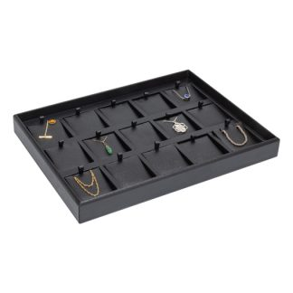 362GTP-BB_15-recess_divided_leatherette_pendant_pad_tray_black_black