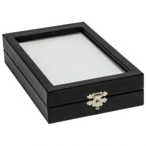 155W_large_rectangular_clear_lid_leatherette_case_with_reversible_insert