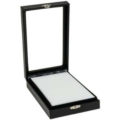 155W_large_rectangular_clear_lid_leatherette_case_with_reversible_insert_open