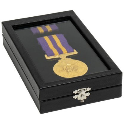 155W_large_rectangular_clear_lid_leatherette_medal_display_case