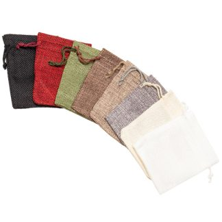 Hessian-Look Drawstring Pouch - 80 x 105mm