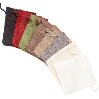 Hessian-Look Drawstring Pouch - 105 x 130mm