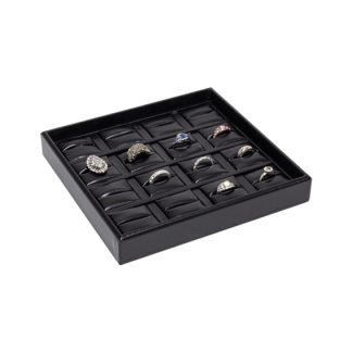 716FR-BB_16-recess_divided_leatherette_ring_tray_filled_black_black