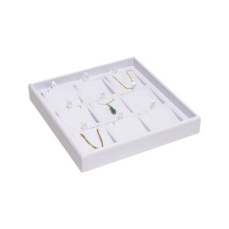 762GTP-WW_9-recess_divided_leatherette_pendant_tray_filled_white_white